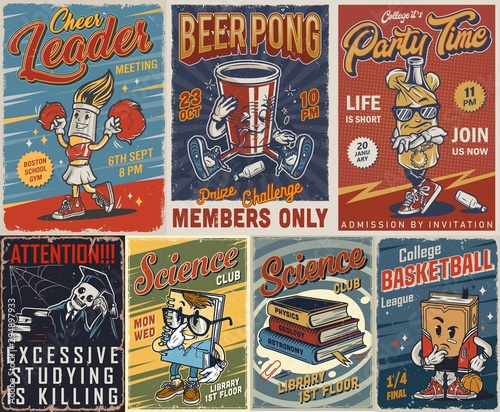 Fotomural Vintage college posters set