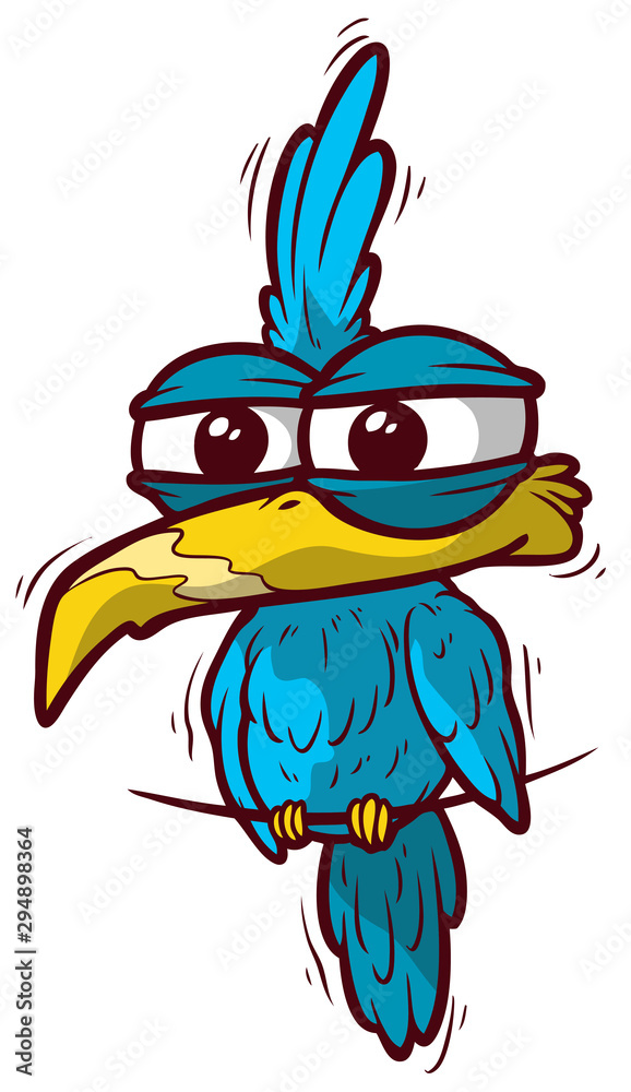 Fototapeta Cute cartoon funny blue parrot. Isolated on white background. Vector icon.