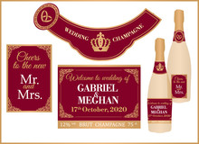 Wedding Royal Champagne Set Of Labels On Full And Mini Bottle. Deep Dark Red Color For Luxury, VIP Premium Celebration. Printable Personalised With Any Name, Message, Date. Sparkly Gold Brut. Cheers!