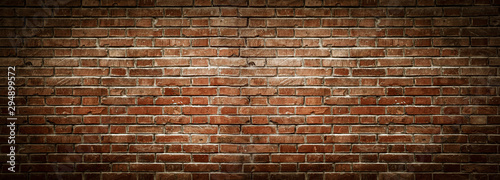 Fototapeta Old wall background with stained aged bricks