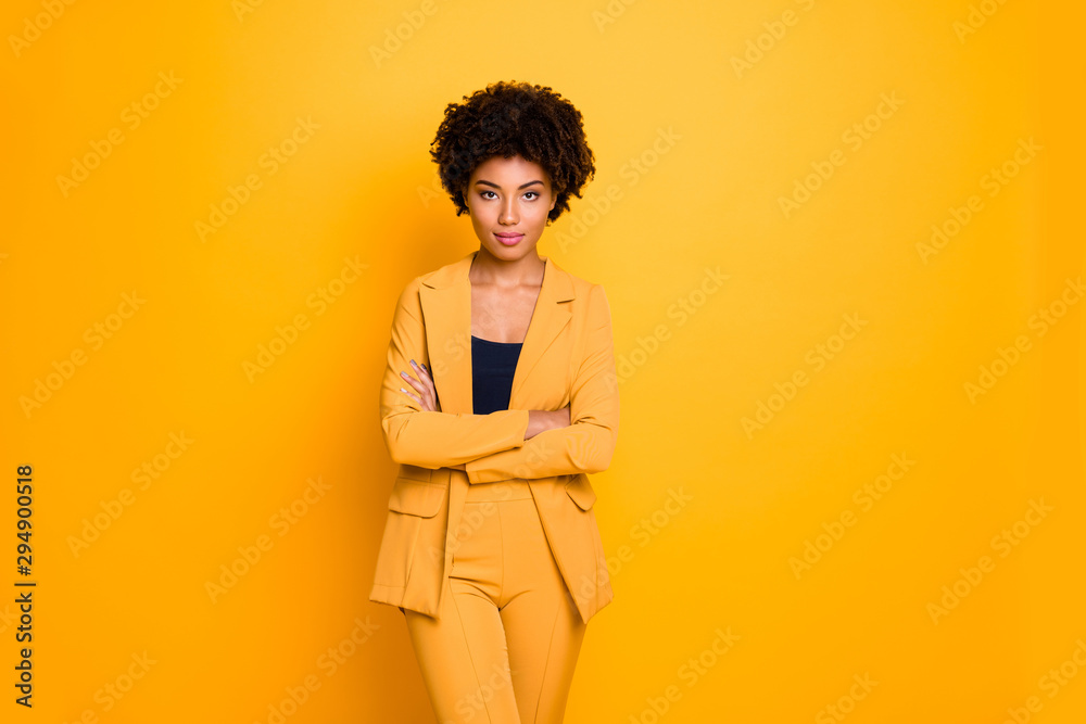 Fototapety, obrazy: Portrait of her she nice-looking attractive charming pretty calm content wavy-haired girl folded arms summer clothing trend isolated over bright vivid shine vibrant yellow color background