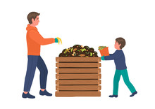 Composting. Man With Boy Makin...