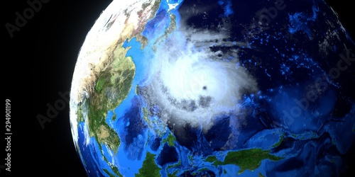 Fototapety, obrazy: Extremely detailed and realistic high resolution 3D illustration of typhoon Hagibis. Shot from space. Elements of this image are furnished by NASA