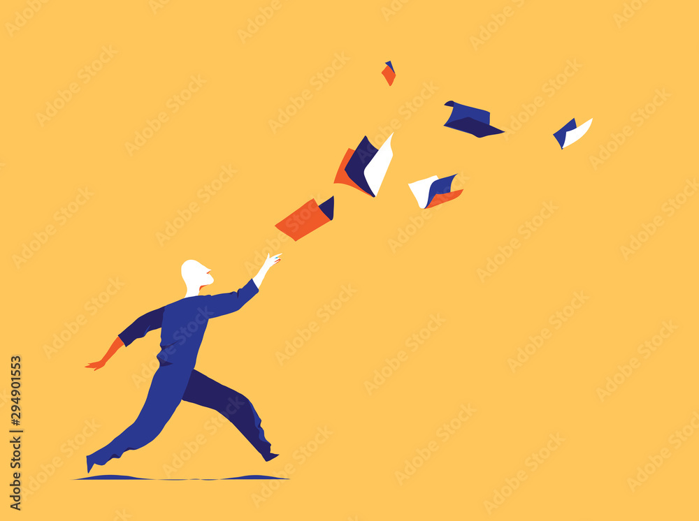 Fototapety, obrazy: Following culture, information flow. Learning aspiration concept. A man is chasing books flying in the air before him. Vector illustration