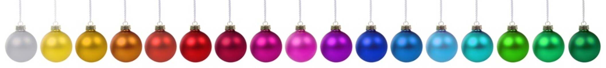 Christmas balls baubles banner color colorful decoration in a row isolated on white