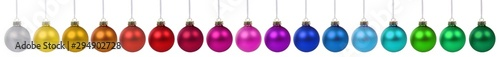 Fototapeta Christmas balls baubles banner color colorful decoration in a row isolated on white obraz