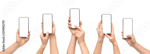 Woman's hands using smartphone with blank screen over white background - 294902791