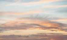 Beautiful Sunset Background Blue Sky With Clouds, Natural Texture, Sunny Day
