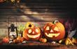 canvas print picture - Halloween pumpkin head jack-o-lantern