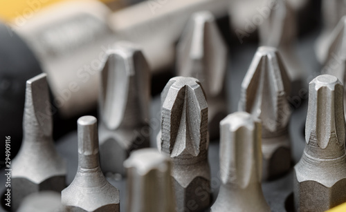 Fotografie, Obraz Screwdriver metal bits set