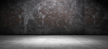 Dark Stained Grunge Wall And Floor Background Metal And Concrete Look