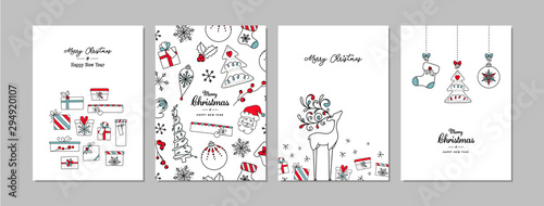 Fototapeta Merry Christmas cards set with hand drawn elements. Doodles and sketches vector Christmas illustrations, DIN A6. obraz
