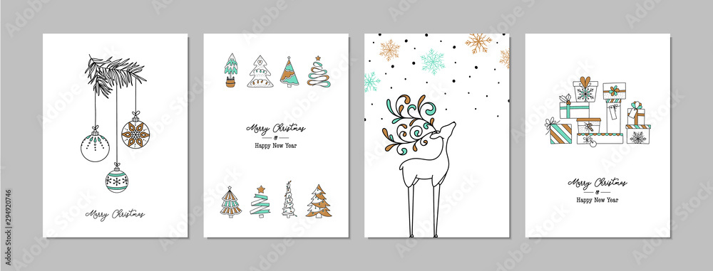 Fototapeta Merry Christmas cards set with hand drawn elements. Doodles and sketches vector Christmas illustrations, DIN A6.