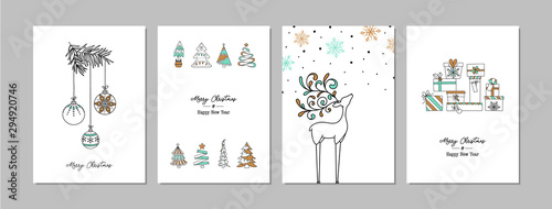 Pinturas sobre lienzo  Merry Christmas cards set with hand drawn elements