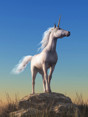 Obraz na płótnie Canvas The mythological unicorn stands atop a boulder, the proudest horse, its spiral horn pointing to the sky in this fantasy equine scene. 3D Rendering