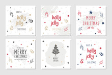 Christmas Square Winter Holiday Greeting Cards Set With Ornaments.