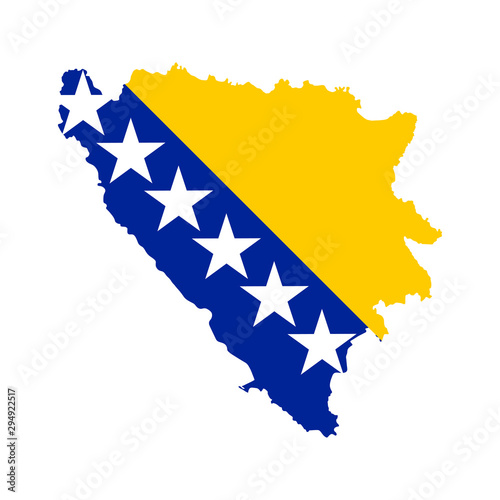 Vector illustration of Bosnia and Herzegovina flag map Wallpaper Mural
