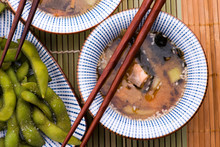Japanese Miso Soup With Tofu, Mushrooms And Salmon