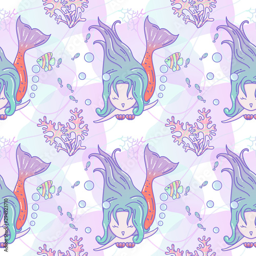cute-seamless-pattern-with-mermaids-and-jellyfish-turquoise-and-coral-colors-vector-childrens-background-suitable-for-printing-on-t-shirts-fabrics-textiles-wallpaper