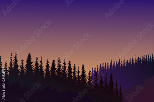 Evening mountain landscape with trees. Vector background