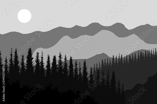 Gris traffic Evening mountain landscape with moon. Vector