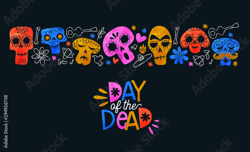 Spoed Foto op Canvas Aquarel Schedel Day of the dead card colorful watercolor skull art