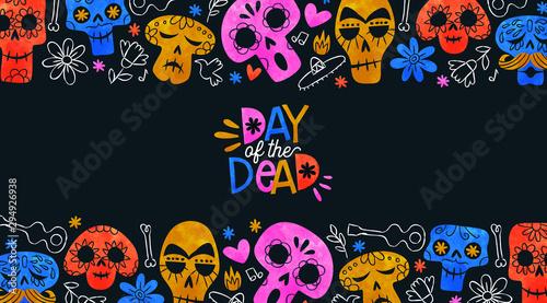 Photo sur Aluminium Crâne aquarelle Day of the dead card funny mexican skull cartoon