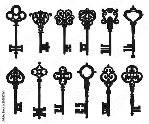 Cuadros en Lienzo Vintage isolated black key silhouettes