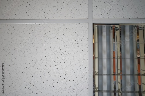 white armstrong ceiling with fluorescent lights Wallpaper Mural