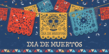 Day Of The Dead Papercut Mexican Skull Banner