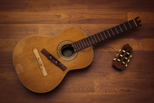 Classical Nylon String Guitar With Broken Off Headstock And Bridge