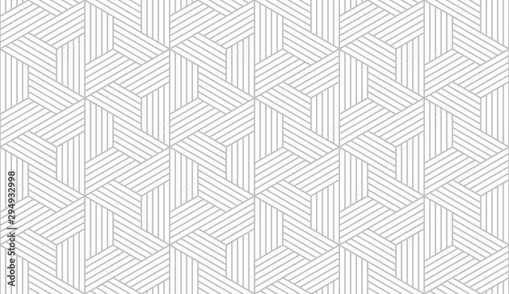 Fototapeta Abstract geometric pattern with stripes, lines. Seamless vector background. White and grey ornament. Simple lattice graphic design.