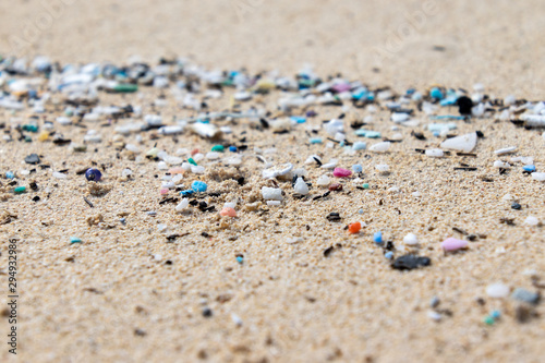 Micro Plastics Washing Ashore On The Beach In Hawaii, USA Canvas Print