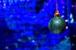 canvas print picture - Christmas ball on a blue background