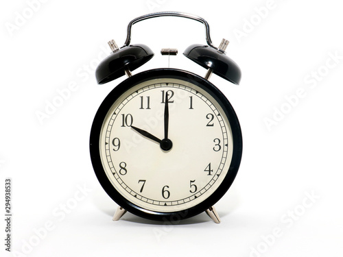 Old-style alarm clock, black and white, it's ten o'clock. Wallpaper Mural