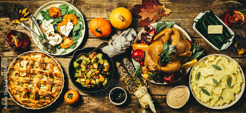 Selection of traditional thanksgiving food - turkey, mashed patatoes, green beans, apple pie on rustic background - 294940137