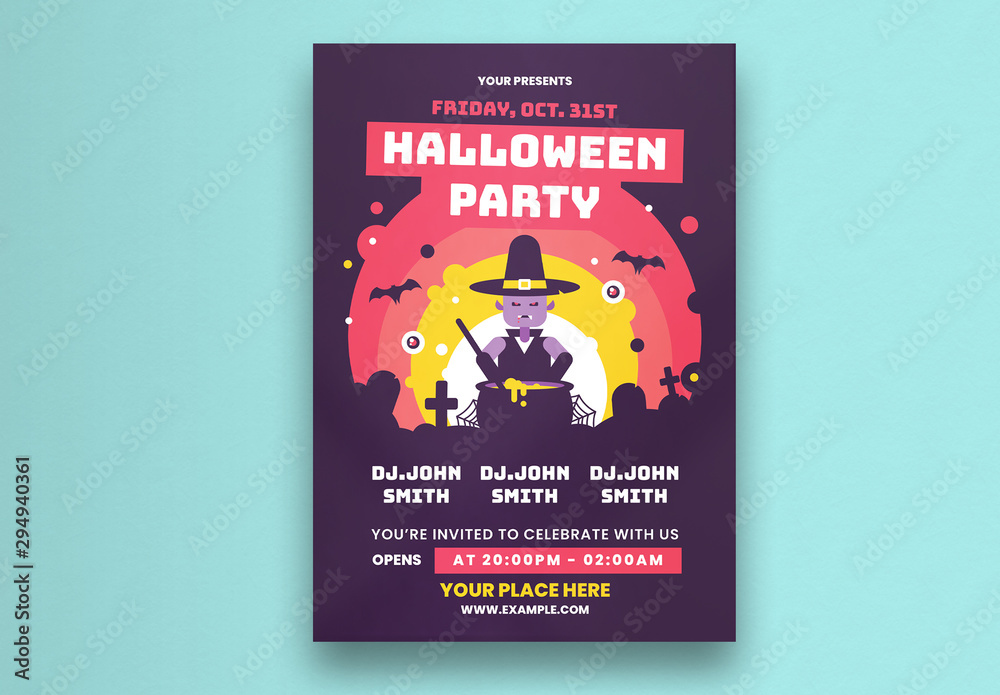 Fototapeta Halloween Party Flyer Layout With Witch Illustration