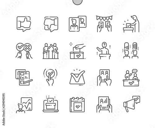 Fototapeta  Voting Well-crafted Pixel Perfect Vector Thin Line Icons 30 2x Grid for Web Graphics and Apps