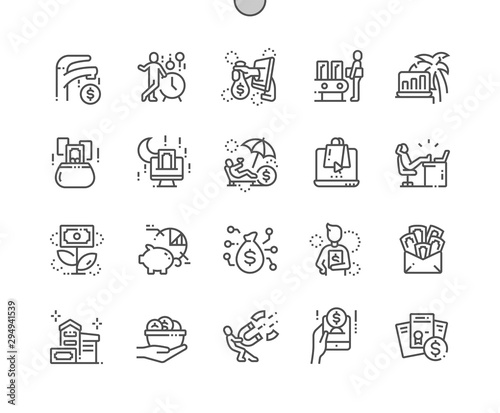 Fototapeta Passive income Well-crafted Pixel Perfect Vector Thin Line Icons 30 2x Grid for Web Graphics and Apps. Simple Minimal Pictogram obraz