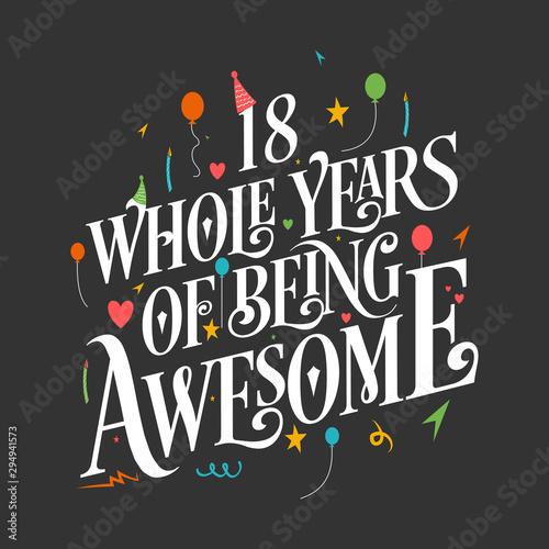18th Birthday And 18th Wedding Anniversary Typography Design