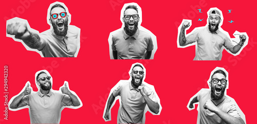 Fototapeta Crazy hipster guy emotions. Collage in magazine style with happy emotions. Discount, sale, season sales. obraz