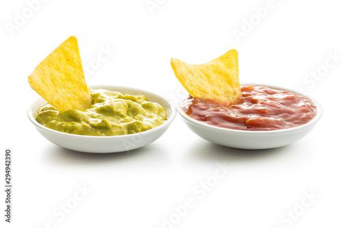 Pinturas sobre lienzo  Corn nacho chips with avocado and tomato dip.