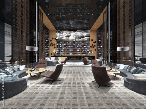 Modern luxury lobby hotel interior with luxurious furniture. 3d rendering