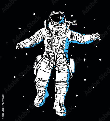 Spaceman in modern pressure suit out in space among shiny stars in dark sky cartoon flat vector illustration Wallpaper Mural
