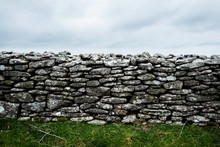 View Of Old Dry Stone Wall Und...