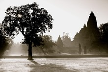 Silhouette Of Temple Buildings Surrounded By Trees In Khajuraho, India