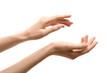 Leinwandbild Motiv Woman with beautiful hands on white background, closeup