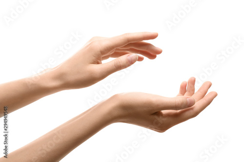 Woman with beautiful hands on white background, closeup
