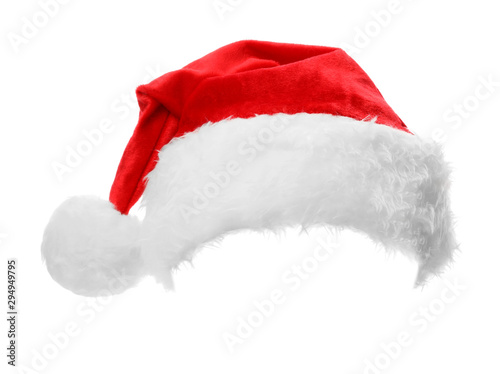 Stampa su Tela  Santa Claus red hat isolated on white