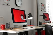 Modern Computer On Desk In Roo...